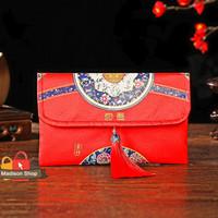 Dompet Angpao Merah Premium Ampao Kain Sangjit Kado Parcel Tahun Baru
