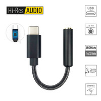 Hi Res DAC Type C to Jack 3.5mm AUX Audio Adaptor HiFi Sound Quality