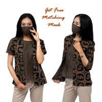 Atasan Batik Wanita Modern Perpaduan Batik Lurik - Blouse Batik Lurik