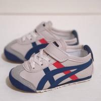 Sepatu anak asics tiger kids crem blue red cowok cewek