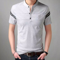 Baju Kaos Zayn Sanghai Mandarin Premium Class Lengan Pendek Bisa COD - Grey, M