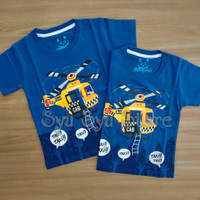 Baju Atasan Kaos Anak Laki Laki Cowok Helicopter Helikopter Biru