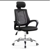 kursi kantor sandaran jaring dengan sandaran kepala - Hitam
