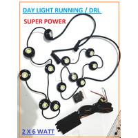 Lampu mobil LED Lamp Daytime DRL SUPER BRIGHT SUPER POWER 12WATT