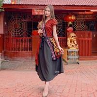 Midi Dress Batik Wanita Cheongsam Red Qipao Baju Imlek