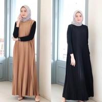long dress plisket tanpa lengan/Dress overal plisket tanpa lengan