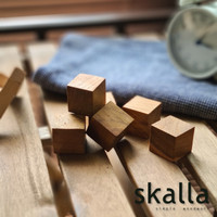 Kub Kubus kayu jati wooden cubes balok besar kecil 1.5 2 3 4 5 cm - Unfinished, 3x3x3cm