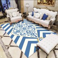 Tobby Karpet Lantai 3Dimensi Abstract Blue Gold Emas White