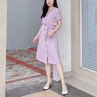 Midi Dress Wanita Lavender Buttom Ribbon Baju Elegant Casual Lilac