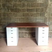 meja kantor meja tulis meja belajar dengan drawer model Visby - Hitam