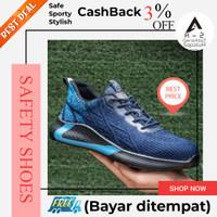 Sepatu safety shoes pria sport sneaker fashion nyaman ringan biru 04