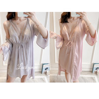 SL067 Sleepwear Kimono Baju tidur wanita bahan satin silk premium