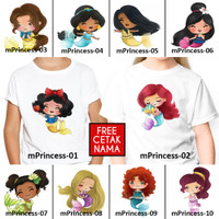 [ FREE NAMA ] Baju Kaos custom DISNEY MERMAID PRINCESS ANAK DEWASA
