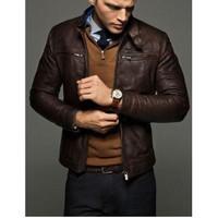 Jaket Kulit Pria Slim fit Warna coklat tua by Garvis Leather terbaru