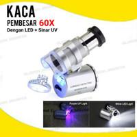 Mini Microscope 60x Pembesaran + LEV UV Mikroskop Kaca Pembesar Mini
