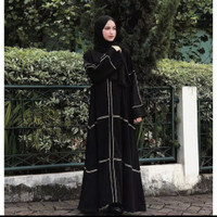 Abaya elhabsyi Gamis Arab Hitam Dubai 055