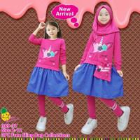 Baju Muslim Anak Little Pineapple Tunik Pink Fushia Unicorn 3-8 tahun