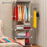 Stand hanger rak gantungan baju besi serbaguna kotak