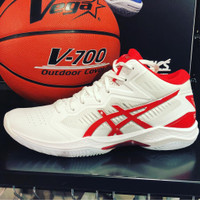 Sepatu Voli Volly Volley Asics Gel Hoop V12 White Red Limited Edition