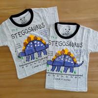Baju Kaos Atasan Anak Laki Laki Cowok Stegosaurus Dinosaurus Dino Abu