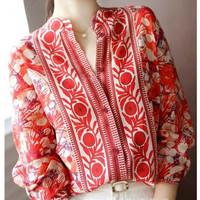 kemeja import atasan baju wanita batik abstrak bluss blouse imlek blus