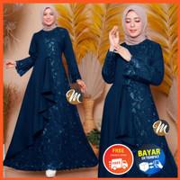 Baju Gamis Brokat Modern Dress Wanita Muslimah Jumbo Satin Terbaru - Navy, standart