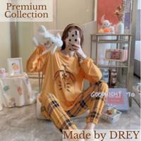 Premium piyama satin wanita set lengan panjang model korea impor - DORAEMON