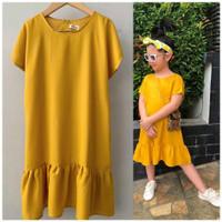 Daster Anak Rayon Polos Kunyit Size 2-10 Tahun Baju Anak Perempuan