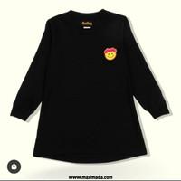 Tshirt anak perempuan MasiMada Kids Black Smiley Long - 2-3 tahun