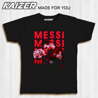 KAIZER RH-0182 Kaos Lionel Messi Sepak Bola - Sport Soccer Football - Hitam, S
