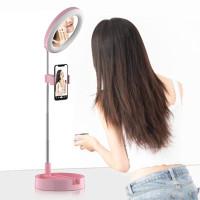 Cermin Selfie Makeup Artist + 64 LED Ring Light + Smartphone Holder
