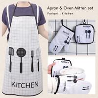 Waterproof Apron And Kitchen Glove Set / Sarung Tangan Celemek Dapur