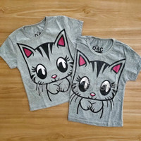 Baju Atasan Kaos Anak Perempuan Kucing Cat Kitty Glitter Abu Misty