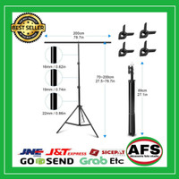 Stand tiang Background Backdrop T-Shape 200x200cm 4 clamp - 200x70