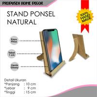 Stand Penyangga Hp Ponsel Hard Case Phone Holder Kayu Natural Shabby