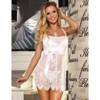 JXO5XW White Sexy Lingerie Baju Tidur Wanita Seksi Tranparan Putih