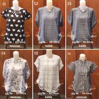 Baju wanita | blouse bunga | kemeja garis | atasan lengan pendek XL