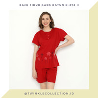 RED SERIES - Setelan Baju Tidur Piyama Wanita Kaos Katun Greet D-272