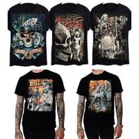 HMC/ Kaos Black Metal Lengan Pendek/ Motif Tengkorak Random - HITAM RANDOM, XS