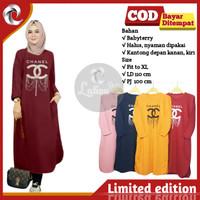 Baju Tunik Kaos Atasan Muslim Jumbo Wanita Chanel Lengan Panjang