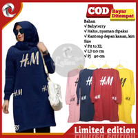 Baju Tunik Kaos Atasan Muslim Jumbo Wanita H&M Baby Terry Terbaru