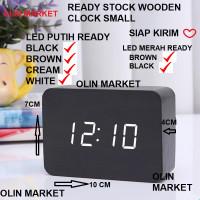 Jam Weker Alarm Small Digital Motif Kayu Clock Jam Beker Temperatur