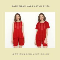 RED SERIES - Set Baju Tidur Piyama Kaos katun Wanita Greet D-270