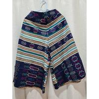 Celana Batik Kulot Premium (Panjang 7/8 , Motif D) - Hitam 3XL