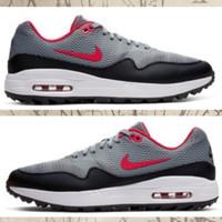 Sepatu Golf Pria Nike Air Max 1 G Bred Grey/Black/Red Original