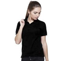 HITAM Kaos Polo Shirt Wanita, Kaos Polos Berkerah, Kaos Polos Kancing