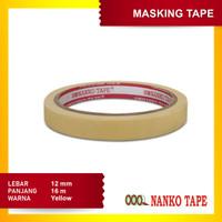 Nanko 12 mmx 18 Yard Masking Tape Kuning - 12 pcs