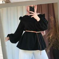 Kelly Top - Atasan wanita - Atasan polos hitam - Atasan blouse warna