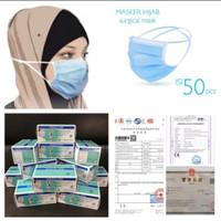Masker Hijab 3ply Alat Kesehatan Mask Headloop 3 Ply Isi 50 pcs