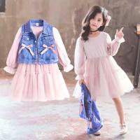 Dress Anak Perempuan Setelan Baju Gaun Jaket Vest Denim Korea Style